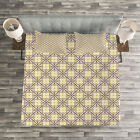 Geometric Quilted Bedspread & Pillow Shams Set, Oriental Blossoms Print image