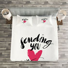 Love Quilted Bedspread & Pillow Shams Set, Sending You My Heart Quote Print image