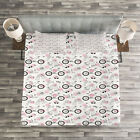 Bicycle Quilted Bedspread & Pillow Shams Set, Springtime Accessories Print image