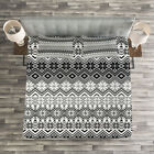 Nordic Quilted Bedspread & Pillow Shams Set, Classical Scandinavian Print image