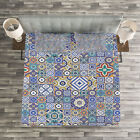 Moroccan Quilted Bedspread & Pillow Shams Set, Grid Squares Pattern Print image