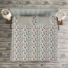 Diamonds Quilted Bedspread & Pillow Shams Set, Geometric Crystals Print image