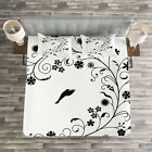 Black and White Quilted Bedspread & Pillow Shams Set, Curves Swirls Bird Print