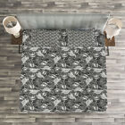 Pirates Quilted Bedspread & Pillow Shams Set, Greyscale Skulls Doodle Print image