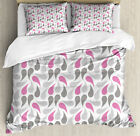 Geometric Duvet Cover Set with Pillow Shams Persian Teardrop Print image