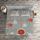 Christmas Quilted Coverlet & Pillow Shams Set, Stars Baubles Snow Print image