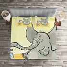 Elephant Quilted Coverlet & Pillow Shams Set, Elephant Bathing Mouse Print image