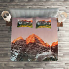 Colorful Quilted Coverlet & Pillow Shams Set, America Mountain Peaks Print image