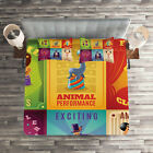 Colorful Quilted Coverlet & Pillow Shams Set, Retro Circus Animals Print image