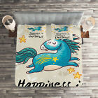 Unicorn Quilted Coverlet & Pillow Shams Set, Quote Happiness Kids Print image