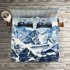 Scenery Quilted Coverlet & Pillow Shams Set, Mountain with Snow View Print image