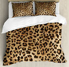 Leopard Print Duvet Cover Set with Pillow Shams Wild Animal Skin Print