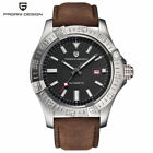 PAGANI DESIGN Leather Strap 30m Date Men Military Automatic Self-Wind Watch Gift