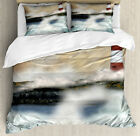 Lighthouse Duvet Cover Set with Pillow Shams Stormy Sea Waves Print