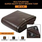 Super Heavy Duty 16 Mil Brown Poly Tarp Cover - Thick Waterproof, UV Resistant