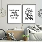 Set of 2 Wash Your Hands You Filthy Animal Black Bathroom Poster Print Wall Art