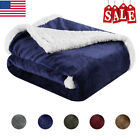 Reversible Flannel/Sherpa Throw Blanket Soft Plush Fuzzy Couch Sofa Bed Blankets image