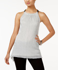 Alfani Chain-Neck Metallic Top Light Silver Lurex Sleeveless Blouse size Large