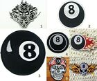 NO.8 Billiard Pool Ball Black Snooker Iron on Patch Table Skull Biker Motorcycle $2.99 USD on eBay