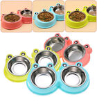 Double Raised Dog Bowl Cat Pet Puppy Stainless Steel Feeder Food  Water Dish NEW