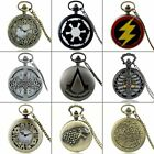 Steampunk Antique Pocket Watches Vintage Necklace Chain Pendant Quartz Mens Gift image