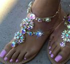 Rhinestones Sandals Flat Crystals Shoes Women Leather Gladiator Chains Footwear