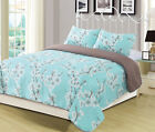 Queen or King Cherry Blossom Spring Bloom Quilt Bedding Set Floral Teal White image
