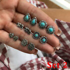 Antique Silver Geometric Flower Turquoise Stones Crystal Gem Stud Earrings Set