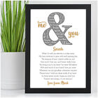 Personalised Anniversary Couples Gifts for Husband Wife Him Her Girlfriend Poem