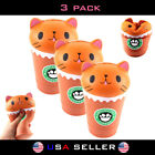 3 PACK Squishy Cat Squeeze Healing Kids Kawaii Toy Stress Reliever Decor Coffee