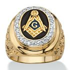 .31 TCW Enamel and CZ 14k Gold-Plated Masonic Nugget Ring