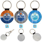 Edmonton Oilers Sporty Leather Glitter Key Chain Car Keyring Ring $3.99 USD on eBay