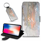 Marble Personalised PU Leather Wallet Case & Keyring For Various Mobiles - 66
