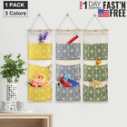 3 Pockets Wall Mounted Closet Organize Pouch Canvas Door Hanging Storage Bags US