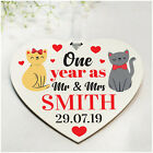 1st 10th Wedding Anniversary Gifts PERSONALISED for Husband Wife Cat Couple Gift