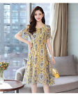 Women's fashion short sleeves chiffon floral print temperamen dress KREDM418#