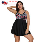 Plus Size Women Padded Bra Tankini Swimdress One Piece Bathing Swimsuit Swimwear