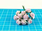 Miniature Mulberry Paper Rose Flower Tiny On Green Wire Stem Mini Crafts 10 mm.