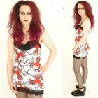 STRAPPY LACE DETAIL GOTHIC VEST TOP SKULL ROSES ALTERNATIVE EMO