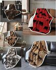 Rustic Lodge Country Jacquard Fleece 50x60 SOFT PLUSH SHERPA Throw Couch Blanket