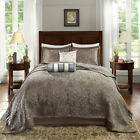 NEW!  XXXL ELEGANT CHIC TAUPE BROWN GREY IVORY WHITE BLUE BEDSPREAD QUILT SET image