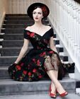 Roiii Womens 50s Style Vintage Retro Rockabilly Off Shoulder Evening Party Dress