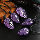 Braid Chain Jewelry Crystal Wrapped Necklace Amethyst Pendant Natural Stone