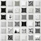 Black & White Geometric Throw Cover Pillow Cushion Square Case Decor Dazzling