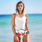 Sexy Floral Print One Piece Bikini Tied Bow Swimwear Summer Sun Bathing Suit