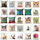 Fashion Home Decor Cotton Linen Throw Pillow Case Fox Sofa Waist Cushion Cover image