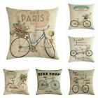 Vintage Bicycle Pillow Case Cotton Linen Throw Waist Cushion Cover Home Decor