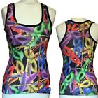BLACK NEON FEATHER MASKS VEST TOP  ALTERNATIVE EMO CYBER  SLEEVELESS SIZE 8-10