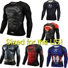 Superhero Compression Mens Long Sleeve T Shirt Bicycle Running Fitness Top