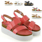 New Womens Wedge Heel Strappy Sandals Ladies Chunky Platform Shoes Size 3-8